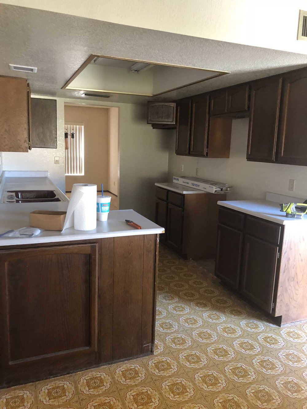 Old design kitchen with cabinets