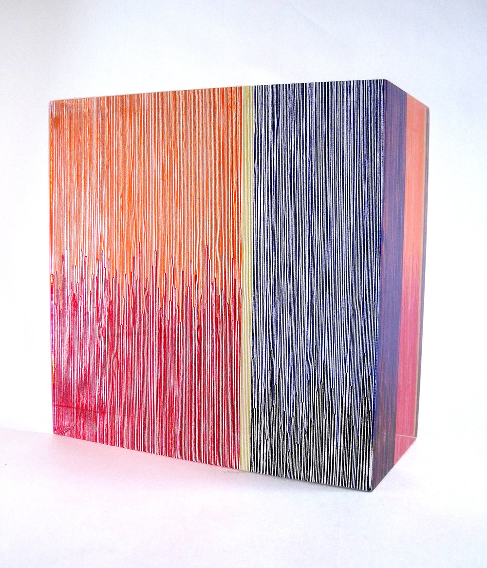 'Ikat', cotton and acrylic resin