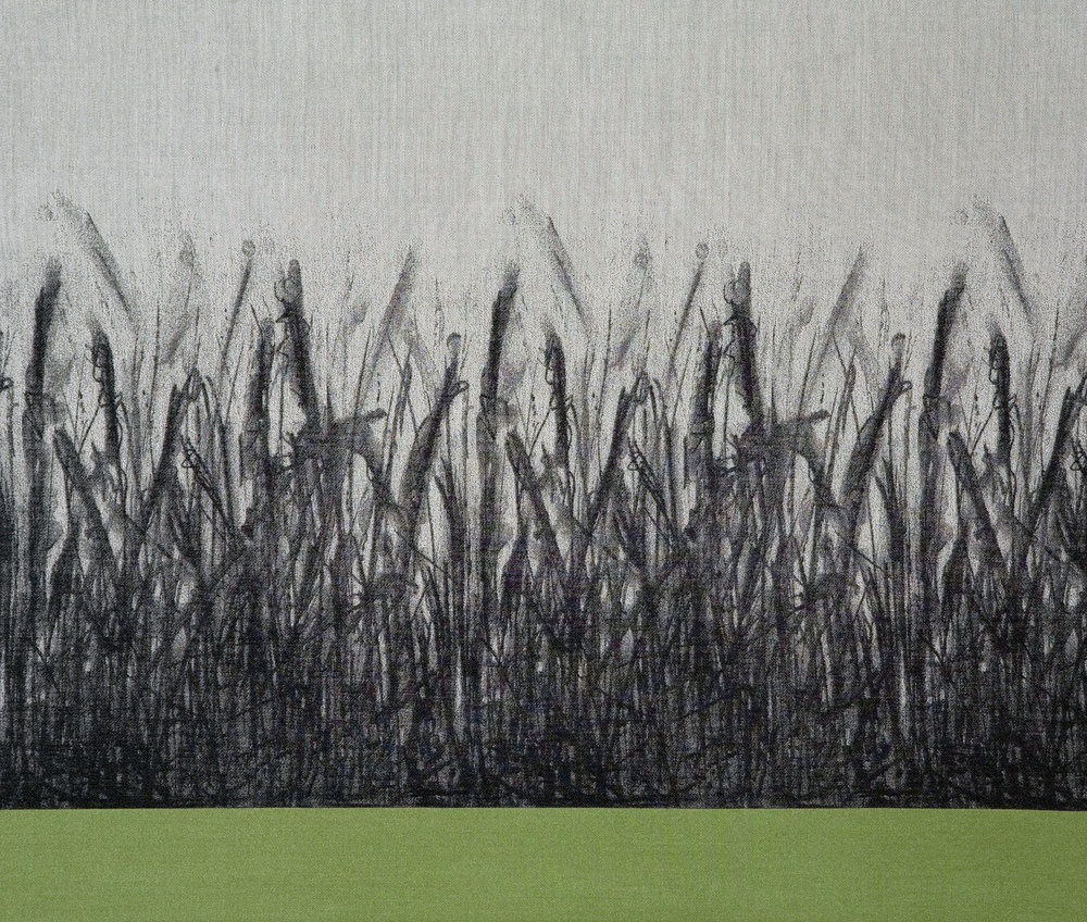 'Meadow Grasses', jacquard woven cotton & silk.