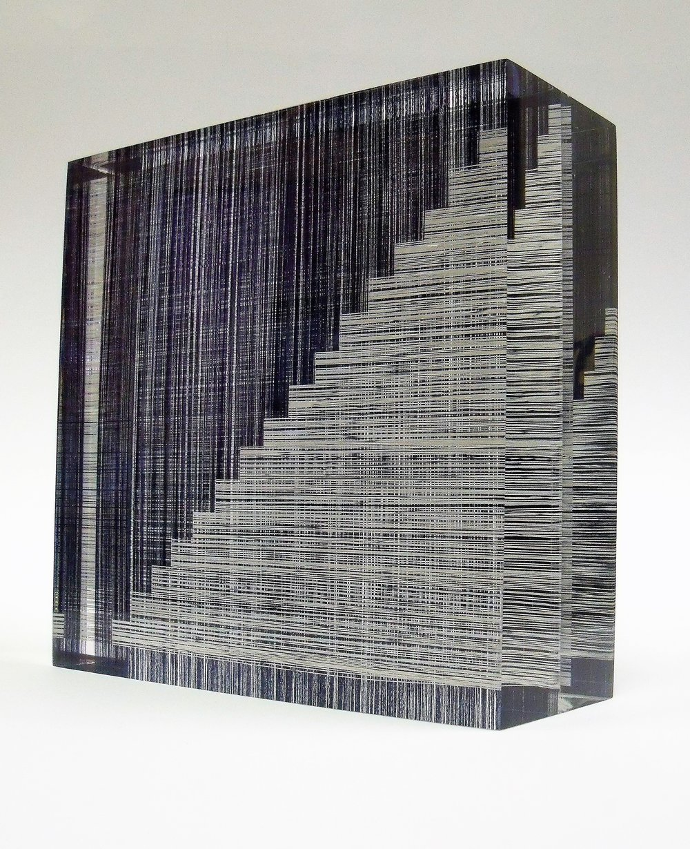 'Stepped', cotton, light reflective yarn and acrylic resin