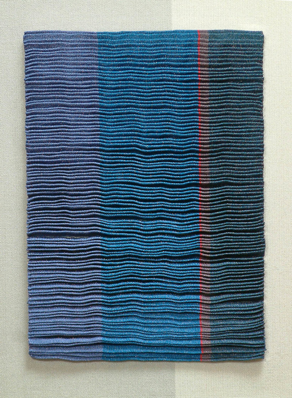'Twilight II', double cloth pleats in silk and copper.