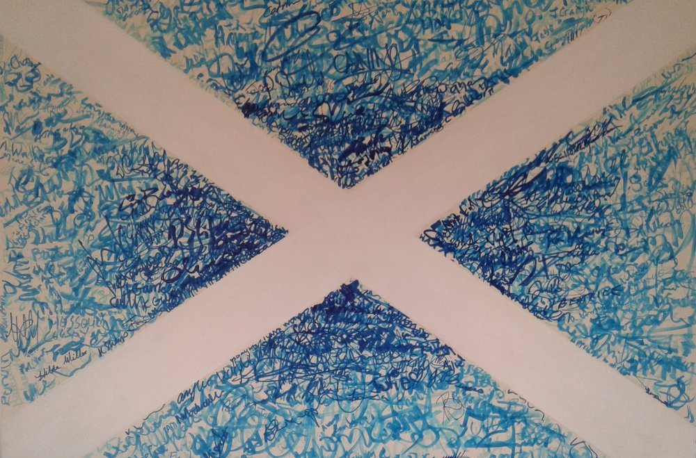 Saltire- Edinburgh and Dundee. August 2018. 594x841mm.  approx 1400 signatures