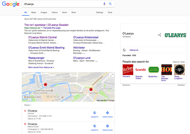 """Google search results for """"O'Learys"""" showing Google Maps locations for nearest O'Learys"""