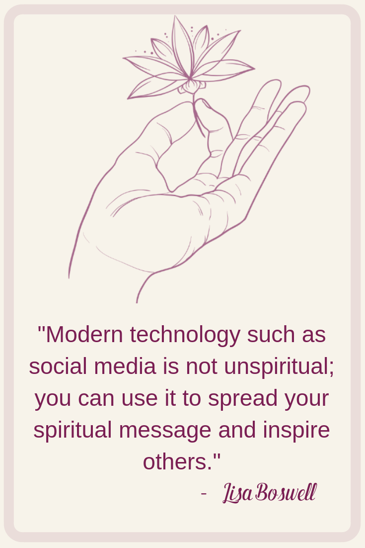 Inspirational quote about the success of social media. Technology can help you spread your spiritual message and inspire others in your life and business.