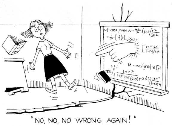 pointing hand out of chalk board saying no no - wrong again! Maths anxiety