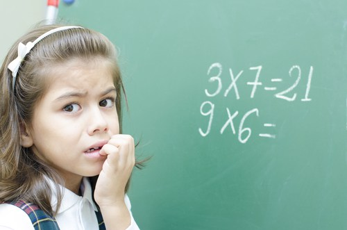 Young girl looking scared because she has Dyscalculia and maths anxiety. What is Dyscalculia?