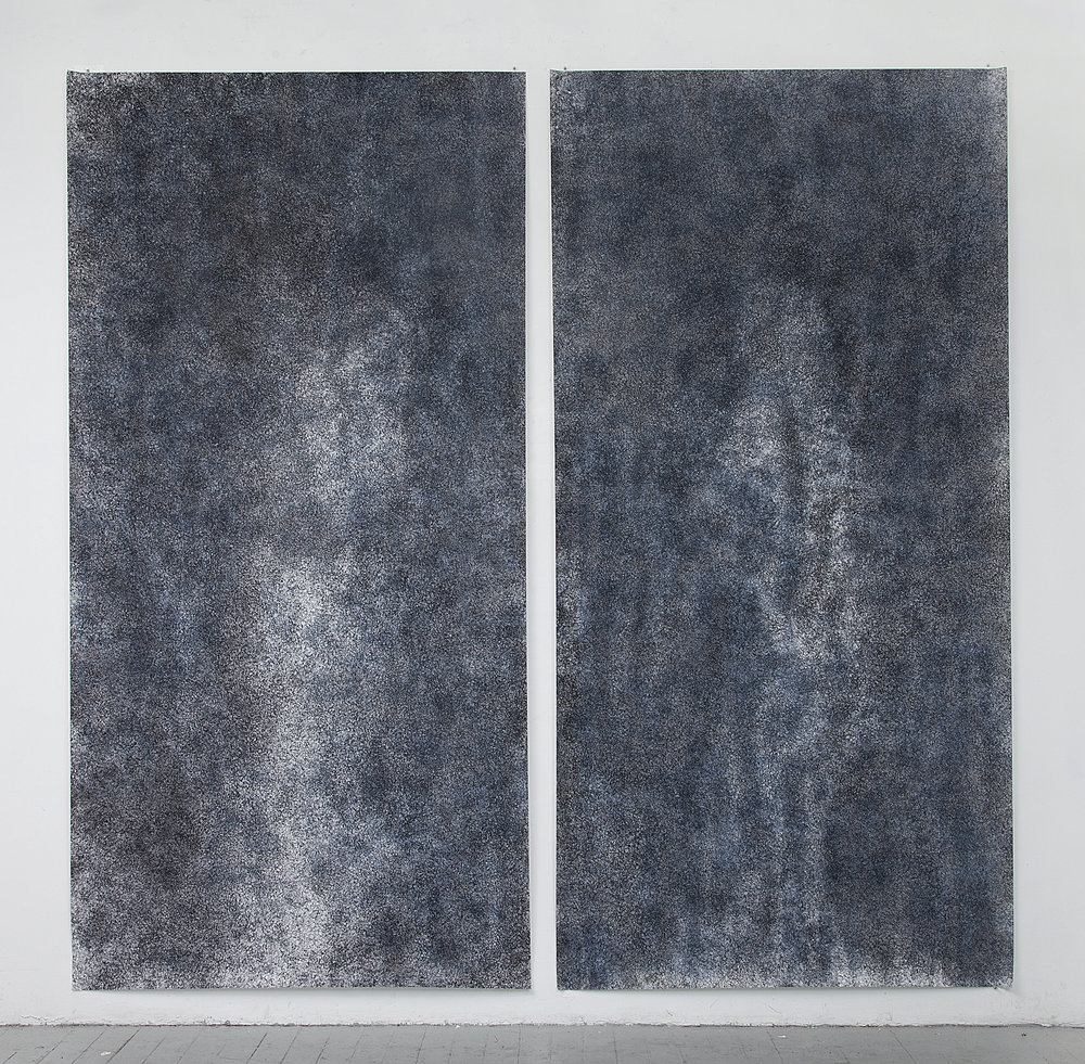 "04. ""Dark Ground, diptych""   Silk screen and ink on paper.  2017.  60"" x 125"" each panel"