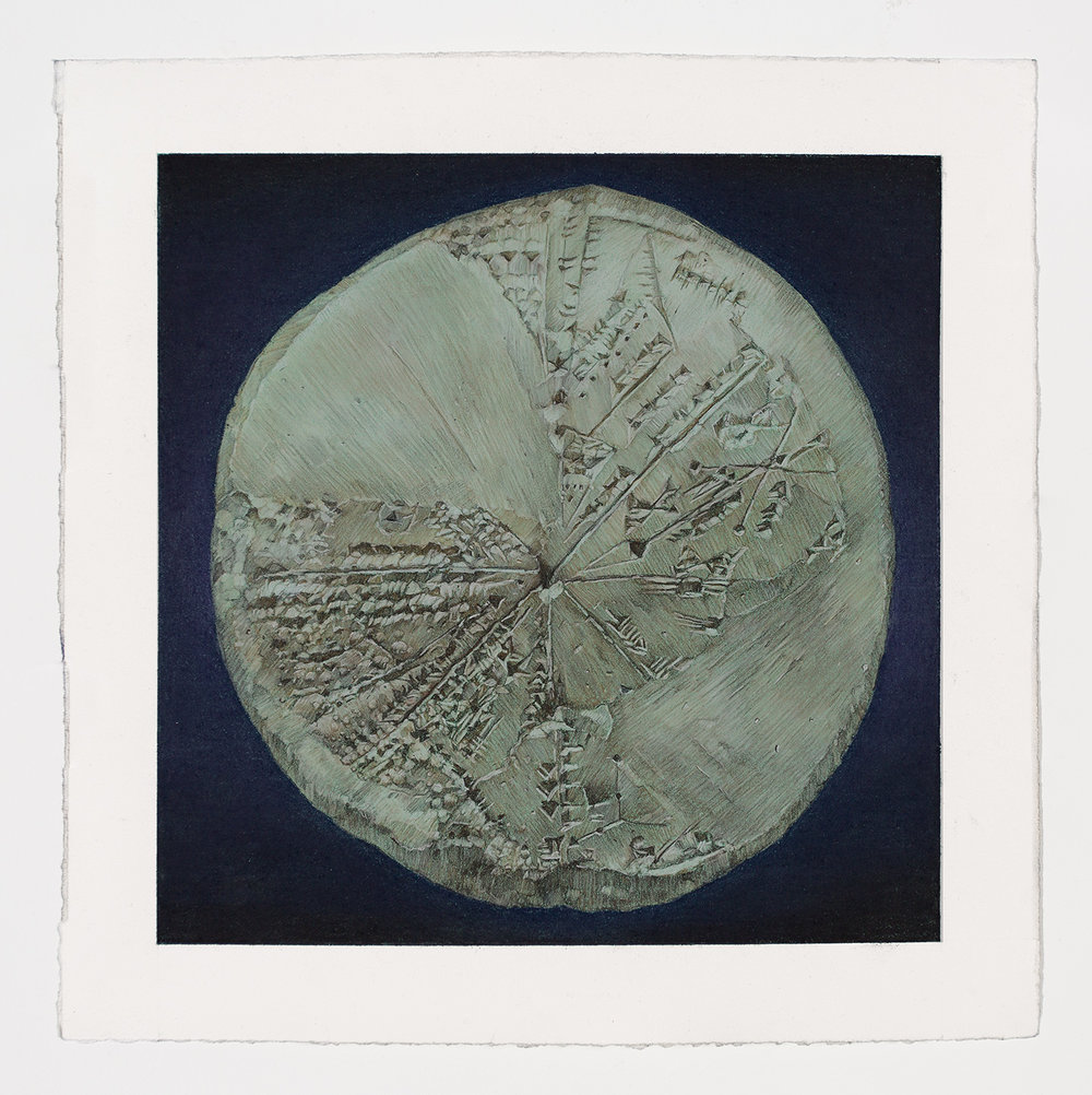 "15.  Ancient Cuneiform Planisphere    Pastel pencil and gouache on paper. 2016. 10""x10"""