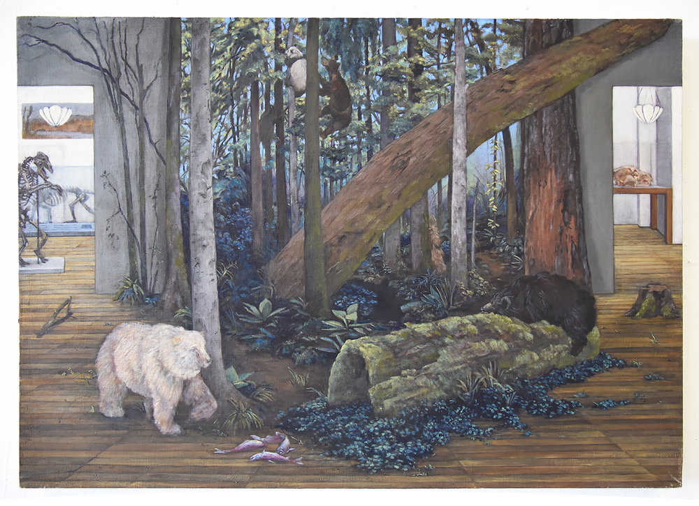 "16.  Last of Their Kind: Critically Endangered Bears    Oil paint on linen. 2018. 24"" x 34"""