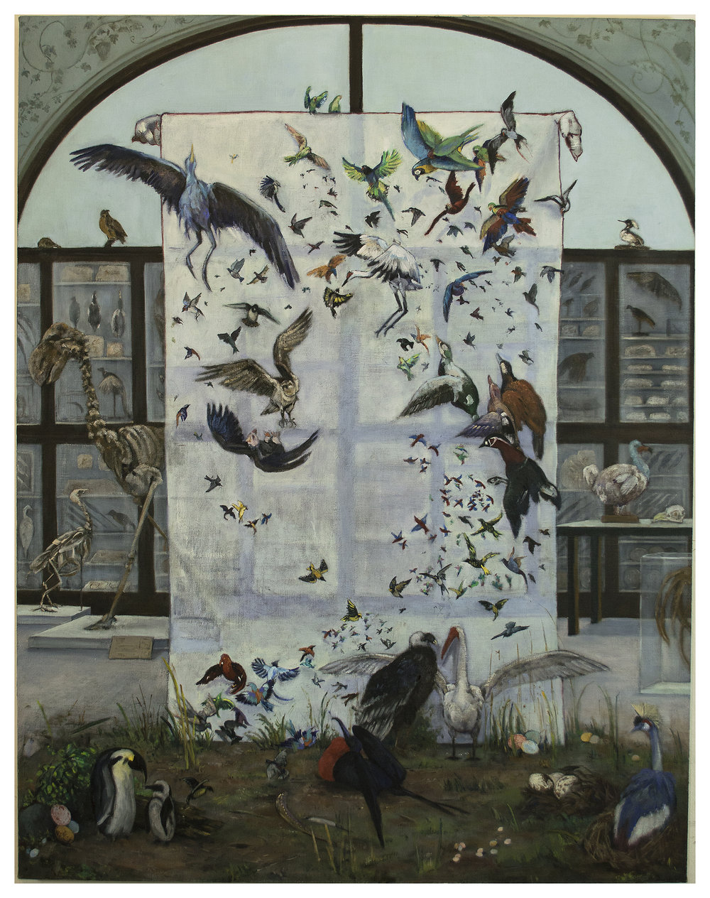 "17.  Last of Their Kind: Critically Endangered Birds   Oil paint on linen. 2018. 36"" x 28"""