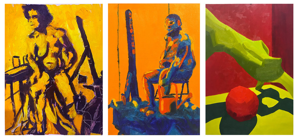 "11. In-class assignment: Complimentary colors with little or no white. by Jordan, Jake, Carly, (left to right). 3 hours. 2018. 9"" x 12""   Painting Marathon and Fundamentals of Oil Painting, RISD"