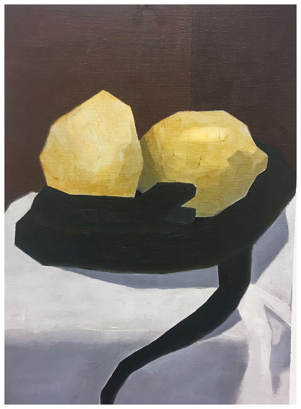 "Carley G. Homework Assignment: Earth-tone Palette. Oil paint on canvas paper. 2018. 9"" x 12"""