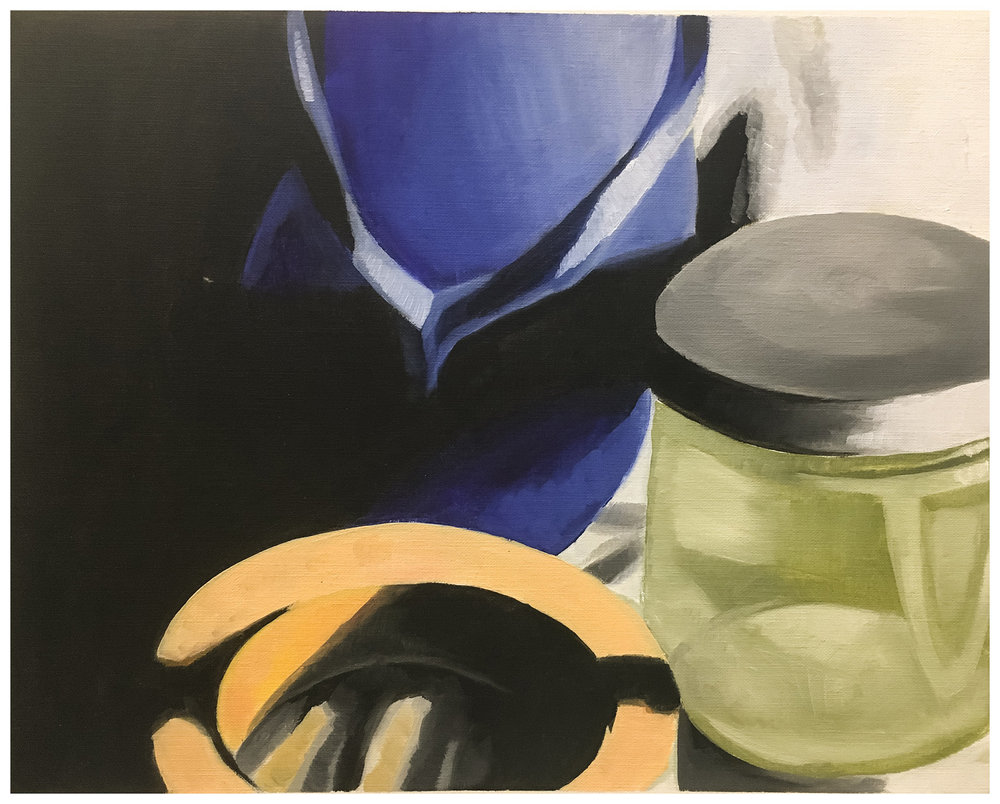 "Kyleigh B. Homework Assignment: Paint a Still life. Oil paint on canvas paper. 2018. 9"" x 12"""