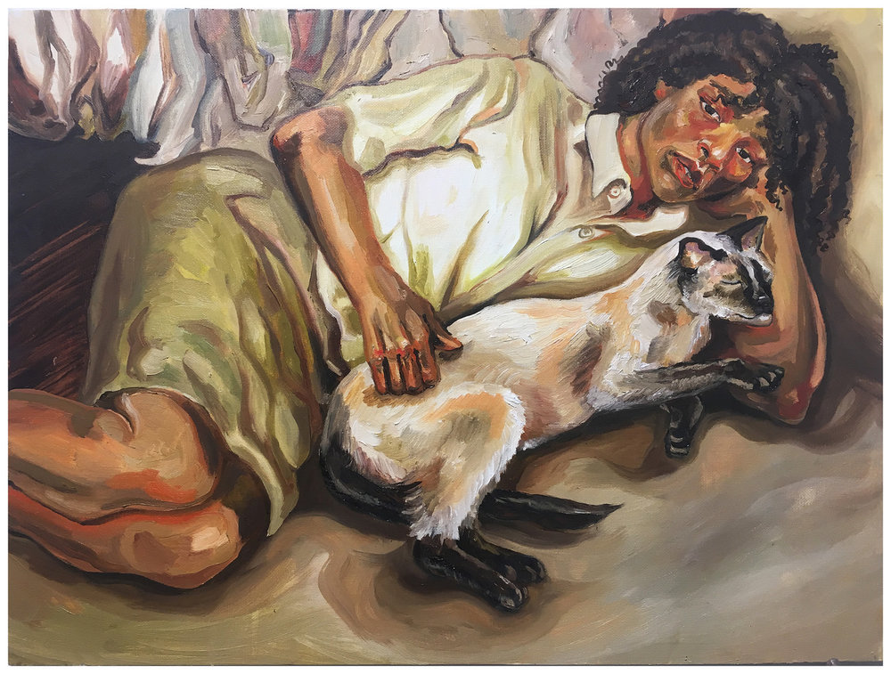 "Sophia A. Homework Assignment: Make a master copy of a painting and then appropriate elements from your copy and make a new painting. Appropriation from Lucian Freud. Oil paint on canvas. 2018. 28"" x 18"""