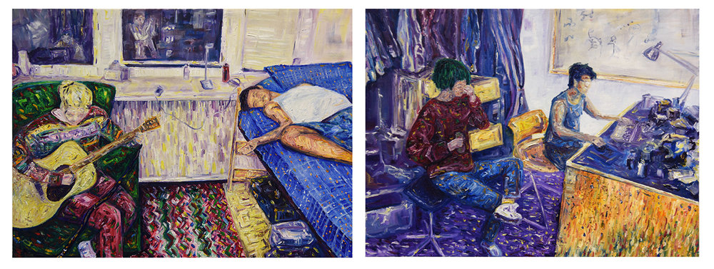 "10. Final Project, diptych. by Noah M. Oil paint on canvas. 2018. 24"" x 18"" each  Painting Marathon, RISD"