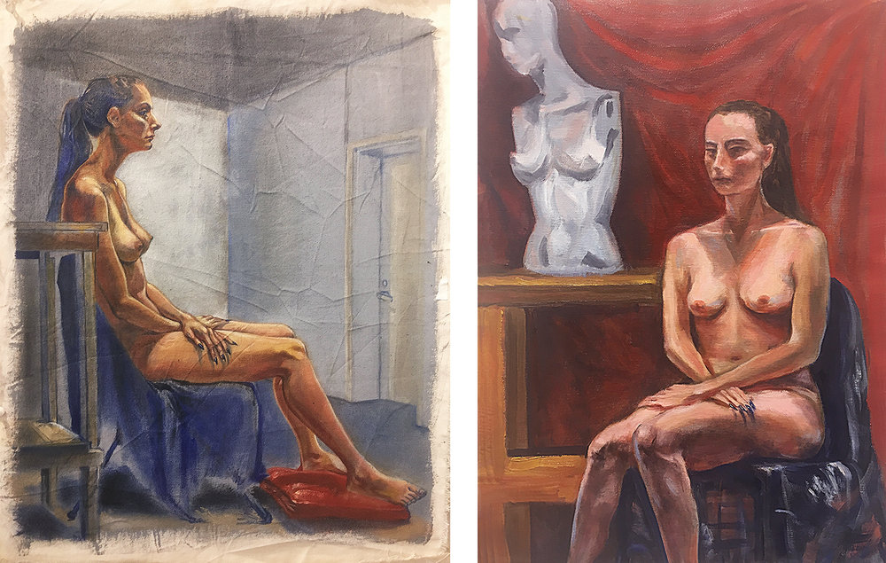 "13. In-class assignment: 2 Day Earth. Tone Oil Painting by Arden (left), Rui (right). 2018. 18"" x 24"" each  Fundamentals of Oil Painting, RISD"