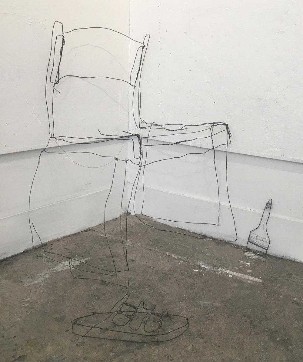 07. Contour Line Wire Sculpture, by Sruthie. 2018. life-size objects  Drawing Fundamentals for Sculpture Majors, RISD. Make contour line drawings of 3 objects, then make 3 wire sculptures from the drawings. Make a final drawing of the sculptures.
