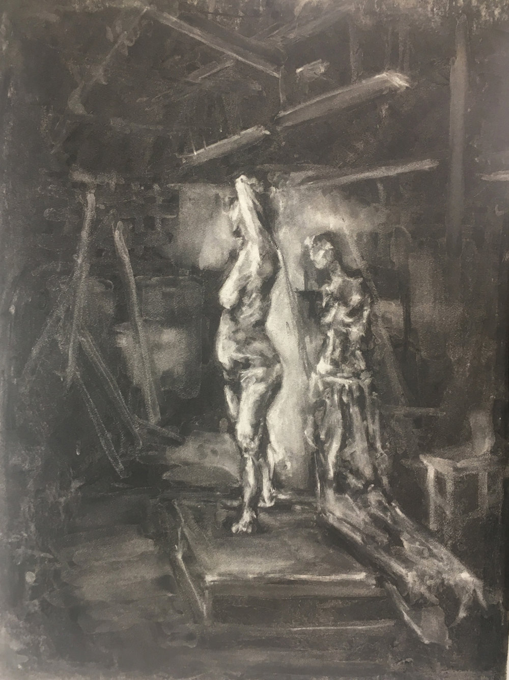 "In-class assignment: Eraser Drawing, by Forest. 30 minutes. Charcoal on Paper. 2018. 18"" x 24""  Drawing Fundamentals for Drawing Majors, RISD."