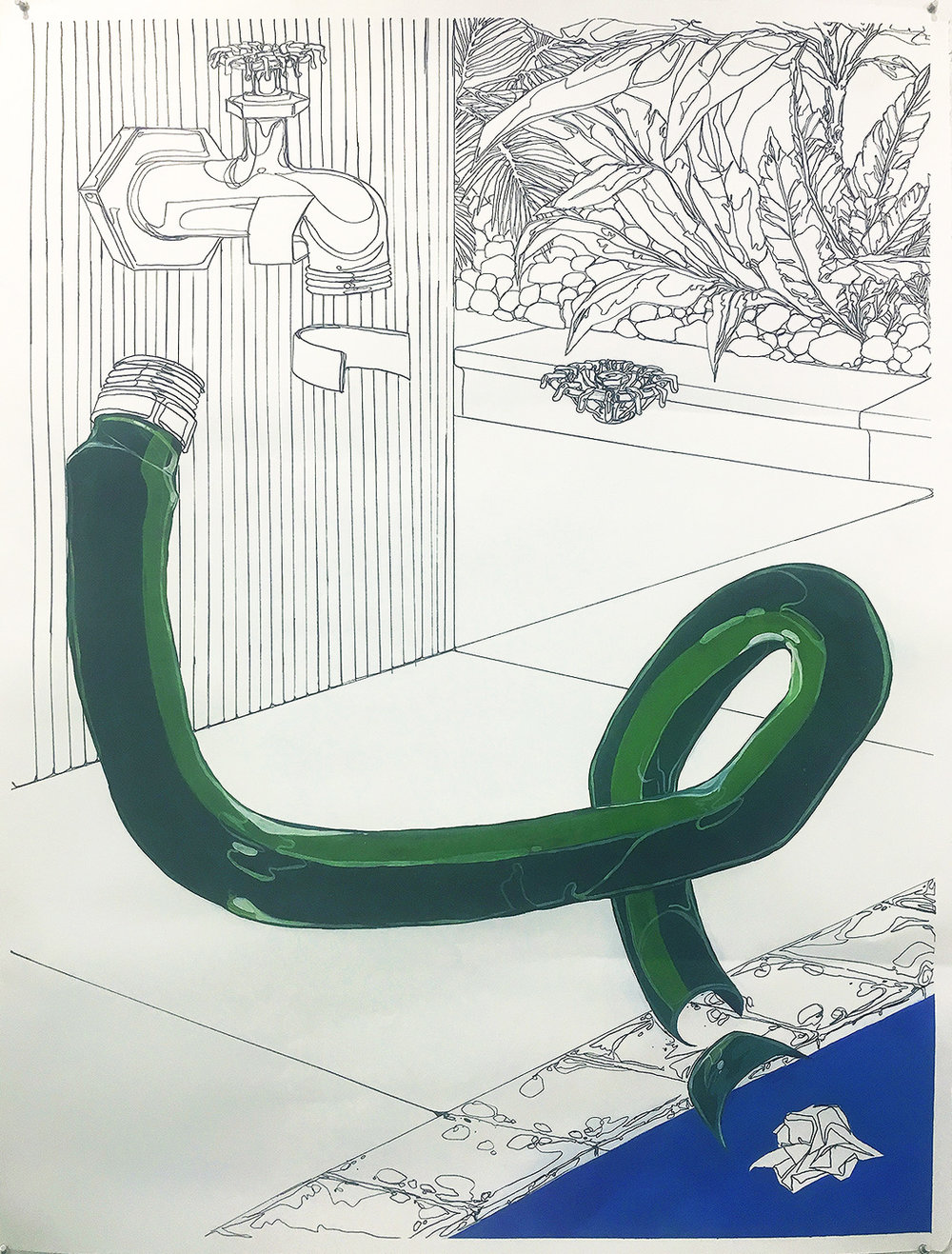 "06. Final assignment, by Ester. Ink and gouache on paper. 2018. 36"" x 48""  Drawing Fundamentals for Sculpture Majors, RISD  Respond to a work of art in the RISD Museum. This is a response to Micheal Owen's  Don't Tread on Me"