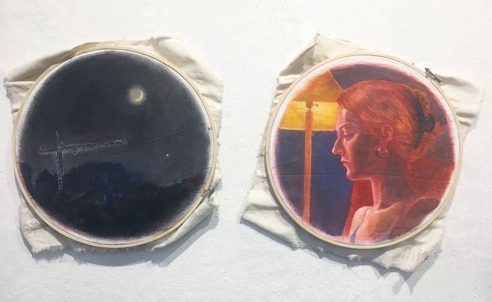 "Detail Final Project. by Arden. Oil paint on canvas stretched over embroidery hoops. 2018. 12"" x12"" each  Fundamentals of Oil Painting, RISD"