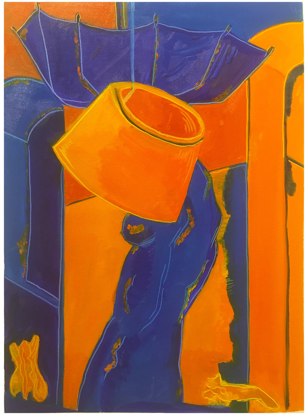 "By Alex. In-class assignment: Complementary colors no white. Oil paint on canvas paper. 2018. 18"" x 24""   Fundamentals of Oil Painting , RISD"