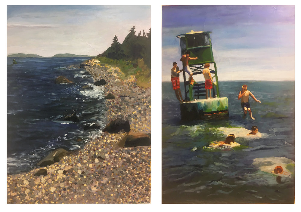 "By Kate. Final Project. Oil paint on canvas paper. 2018. 18"" x 24"" each   Fundamentals of Oil Painting , RISD"