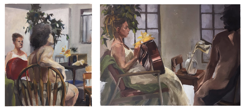"17. Week 6-9, in-class assignments on skin tone. By Joohyung (left), Pearl. Oil paint on canvas. 2018. 16"" x 20"", 9"" x 12"". Painting 1: Color Perception and Expression, Illustration Department, RISD."