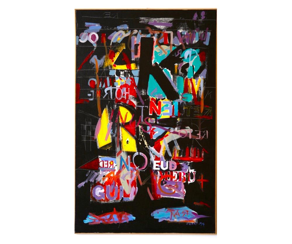 """Gül, 1994   Jean Percet,  série """"les mots"""",  HO.603 Acrylique, 89 x 116cm"""