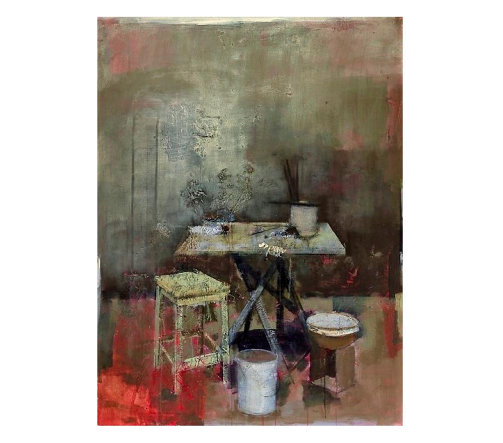 La table pliante   Paul Vilalta, Acrylique, 130 x 97 cm