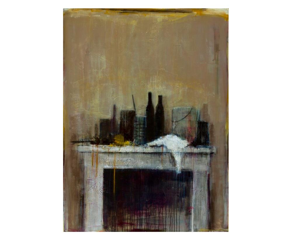 Cheminée Jaune   Paul Vilalta, Acrylique, 130 x 97 cm