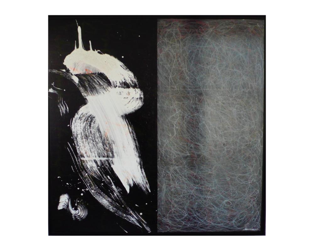 L'oiseau   Gérard Serre, techniques mixte acrylique et encre de chine, 150 x 150 cm