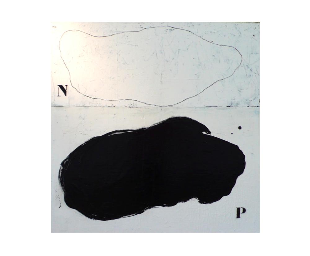 Négatif - Positif    Gérard Serre, techniques mixte acrylique et encre de chine, 120 x 120 cm
