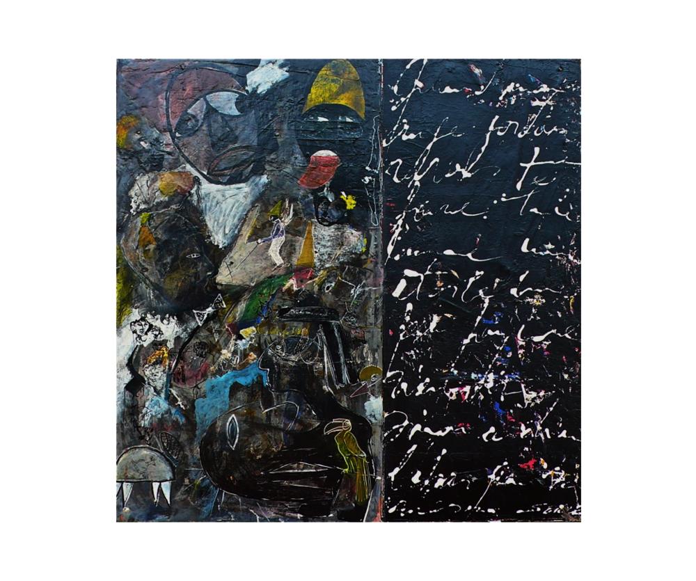 Poème érotique   Gérard Serre, techniques mixte acrylique et encre de chine, 100 x 100 cm