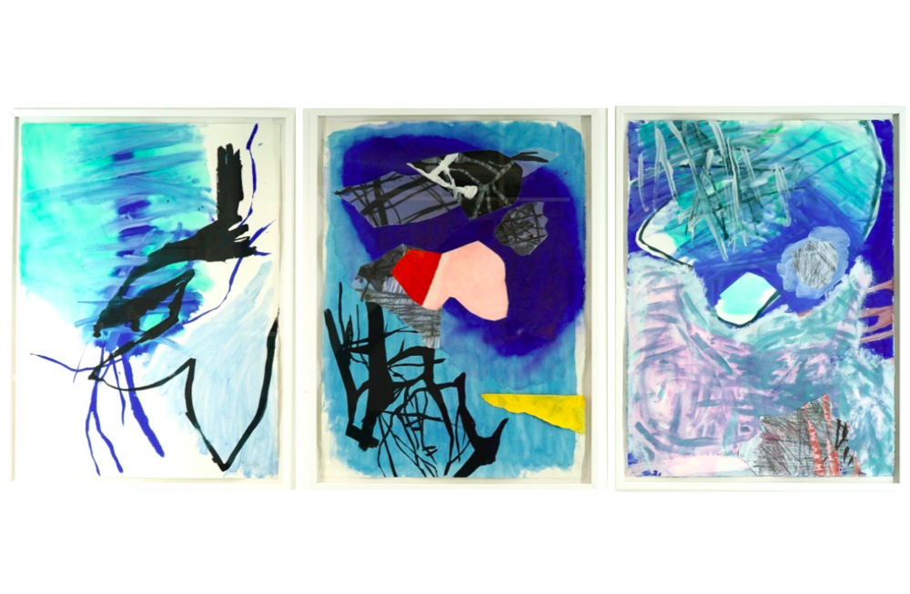 Sans Titre   Christine Heitler, Peinture / papier sous-verre technique mixte (gouache encre collage), 180 x 80 cm