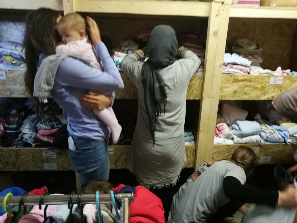 lesvos - refugee4refugees - We funded six months rent for volunteers in Lesvos to open a much-needed new clothes distribution warehouse for the people of Moria Camp. As winter approached, this was the only distribution centre where the people could choose clothes for themselves with dignity like in a normal shop.