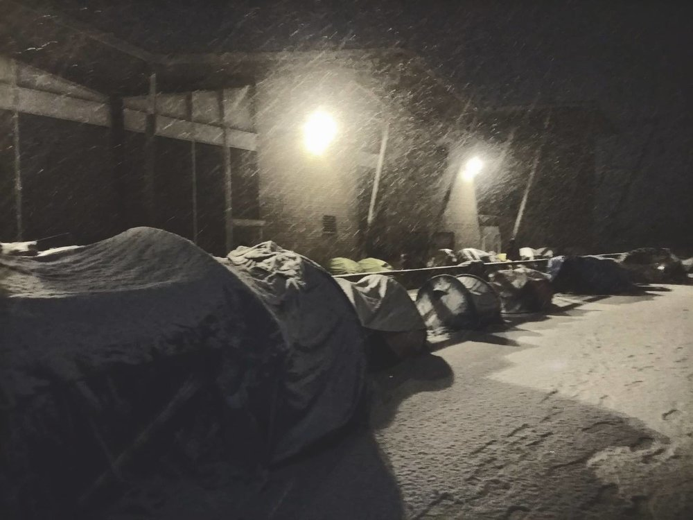 """Over 500 people sleeping outside woke up to a blanket of snow this morning"""