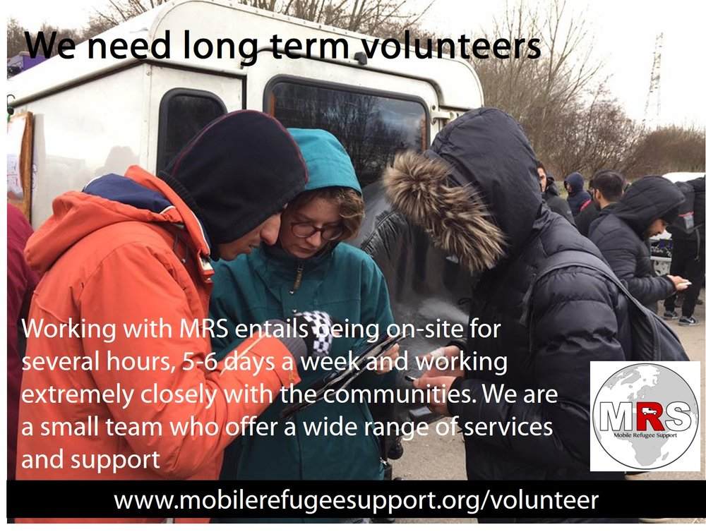 """Mobile refugee support (MRS) - www.mobilerefugeesupport.org/volunteer""""Mobile Refugee Support's work near Dnkirk depends entirely on the hard work, time and dedication of our ever-growing family of volunteers."""""""