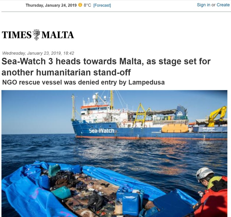 Times of Malta , 24 January 2019