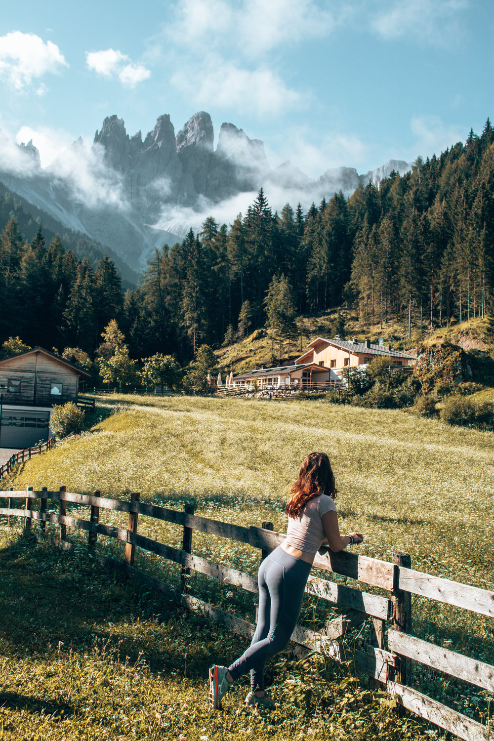 Girl with Dolomites mountain views