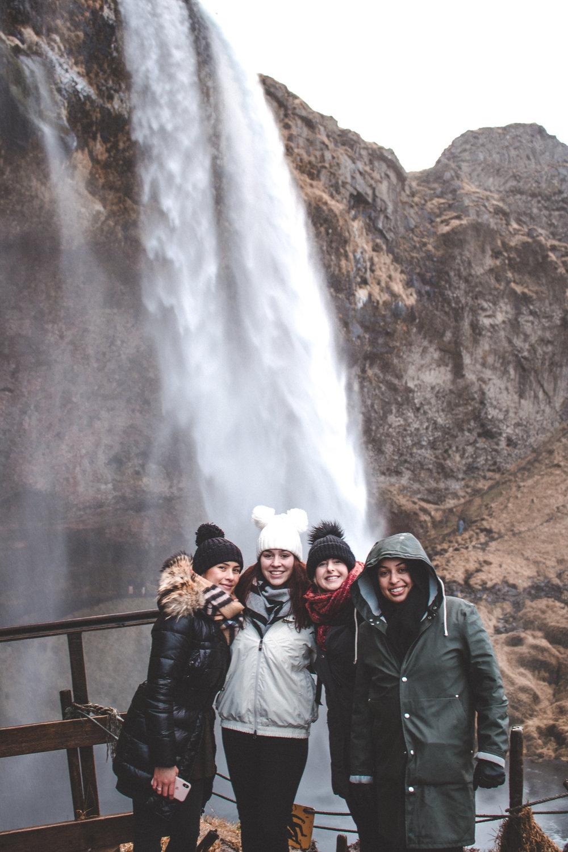 Group of girls at Icelandic Waterfall