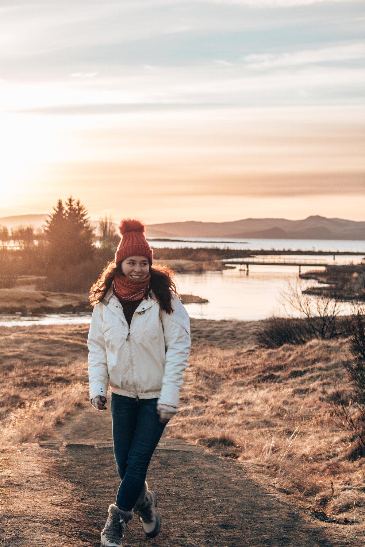Girl smiling in iceland sunset