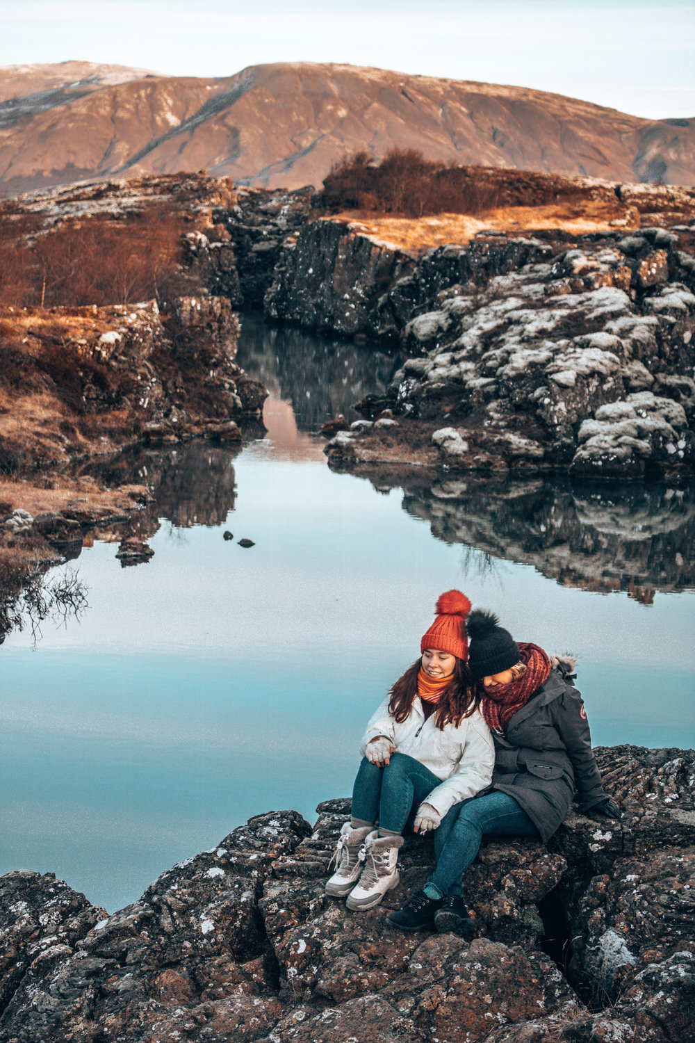 Pingvellir National Park two friends and a view