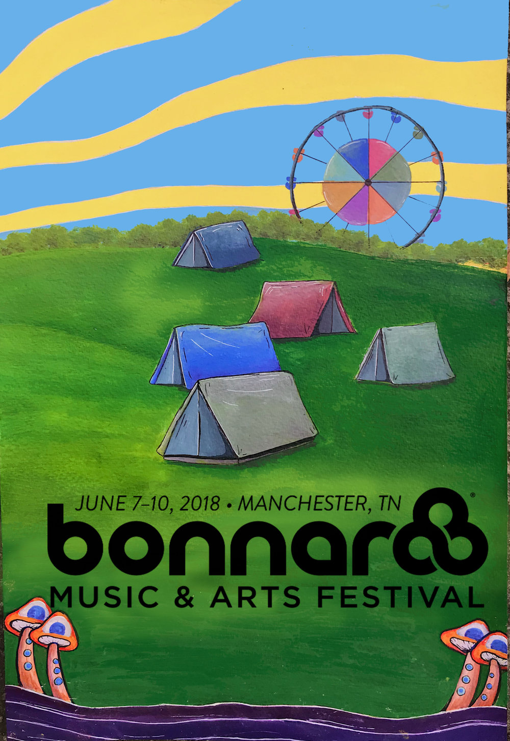 Mock 2018 Bonnaroo Poster  Made with Acrylic paint, edited on Photoshop  2/3