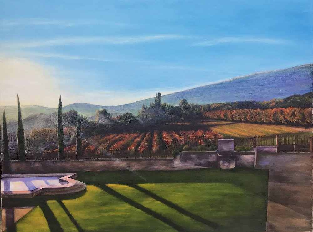 """View from my window in Lacoste, fRANCE  nfs 18""""x24"""""""