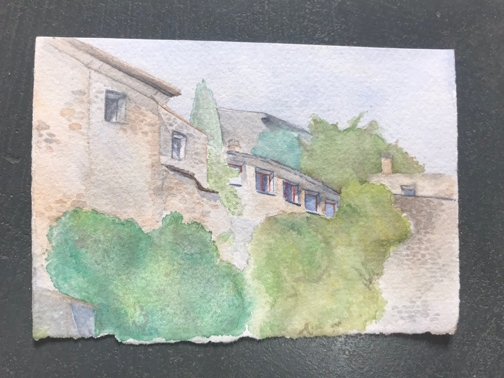 """Village of Lacoste, France  $50 Watercolor on Paper 6""""x6"""""""