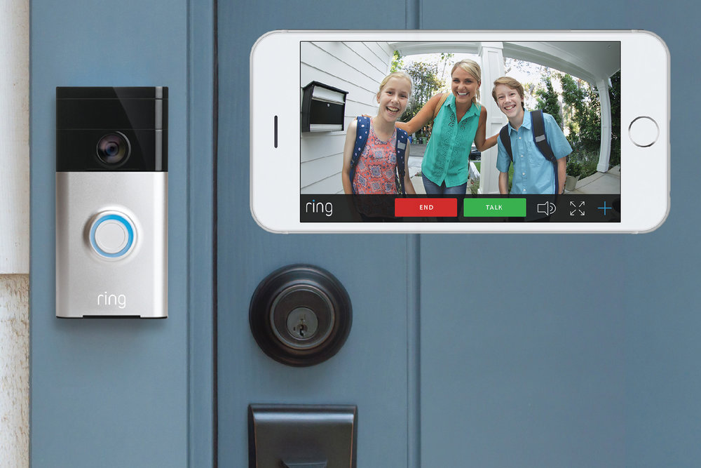 Ring. Ring. Who's there? - Ring Video Doorbell The Ring video doorbell lets you see, hear and speak to your visitors from your smartphone, tablet or PC from anywhere inside or away from your home. You can even watch your video history to see who you missed or view a live feed for added home security. Oh, and they look pretty cool too.