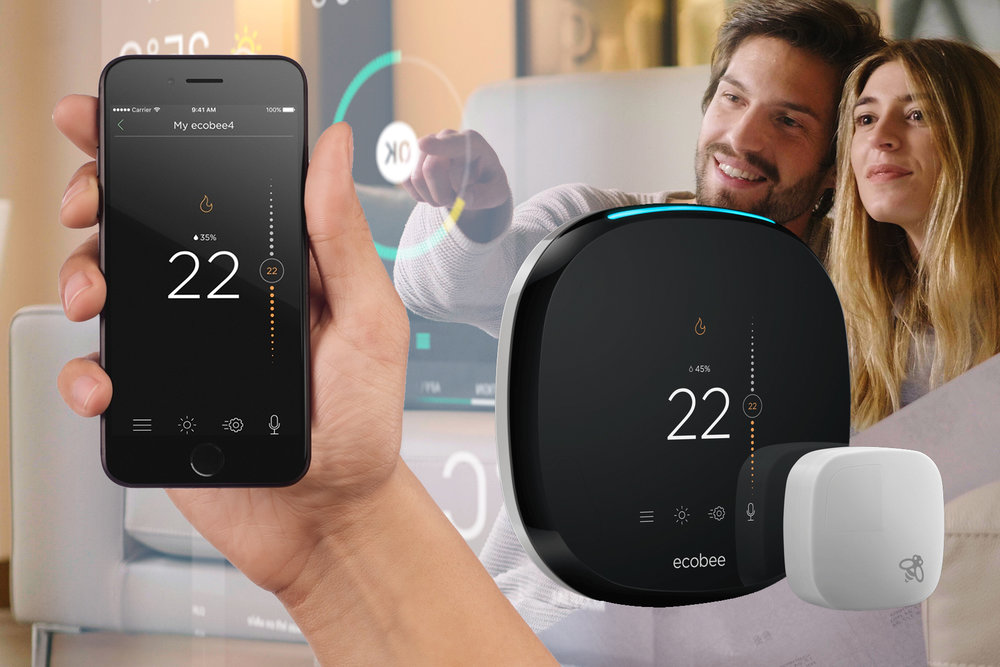 This thermostat is S.M.A.R.T. - ecobee 4 Wi-Fi Thermostat Can your thermostat play music? This one can. The ecobee 4 can also detect which rooms are occupied and adjust the temperature accordingly, understand when you are home or away to help save on utilities, and it can even add groceries to your shopping list with verbal commands thanks to Amazon Alexa being built right in. Add an LED touchscreen, wi-fi control from your phone anywhere in the world and live local weather forecasts, and your new home just became a whole lot smarter.