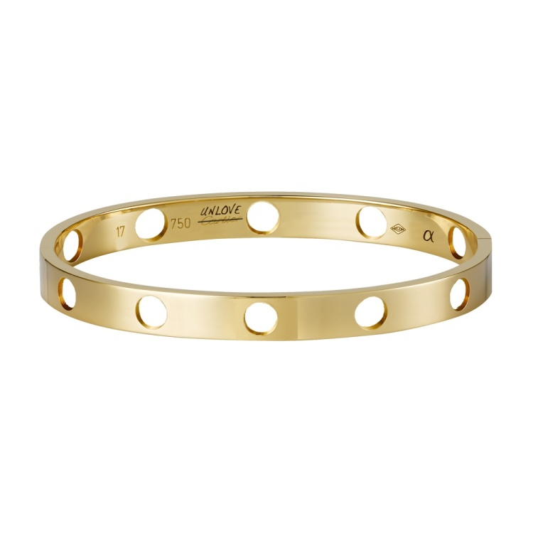 UNLOVE BRACELET, 14K Yellow Gold, 6.5 mm wide and 2 mm thick, 2015