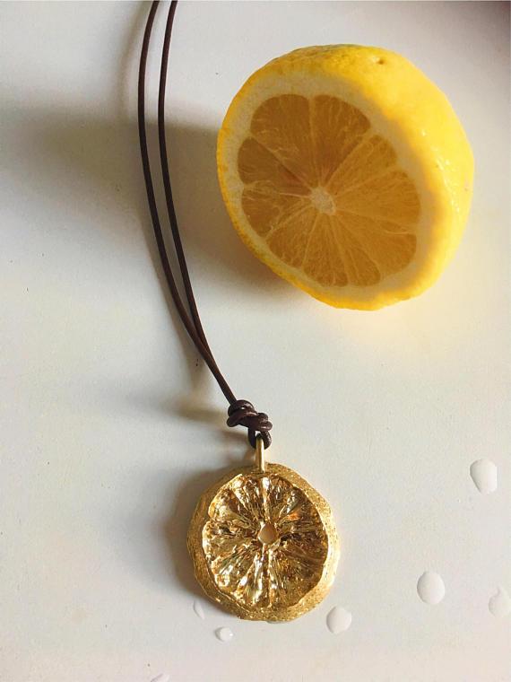 Lemon Wheel Medallion Necklace, Brass and Vegan Leather, 2010