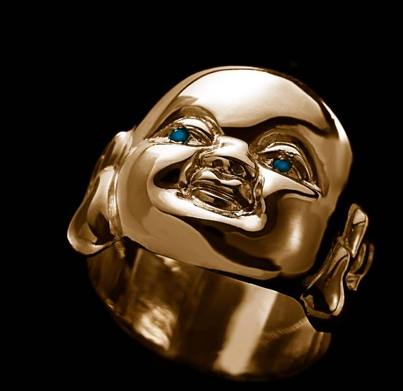 BUDAI BLUE EYES RING, 18K Yellow Gold and Blue Diamonds, 14 mm tall/wide from the top to bottom of the face, band is 9 mm tall/wide in the back, 2011